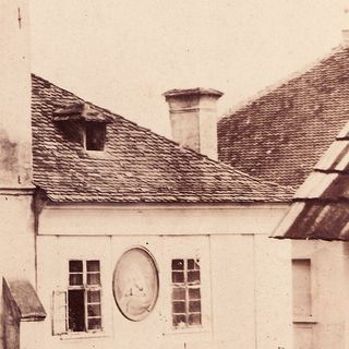 Detail of the roofs next to the Stone House, 1856