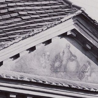Painting in the gable of the house No.362, around 1940